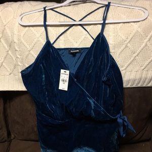 NWT express blue velvet wrap cami